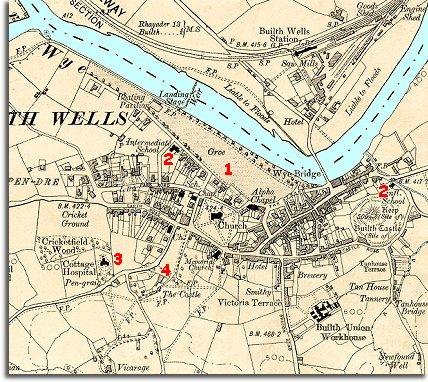 map of Builth in 1905