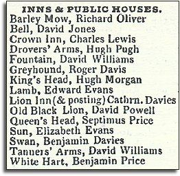 extract from Pigot's Directory in 1835