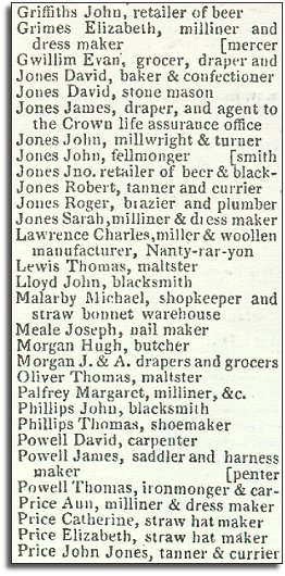 extract from Pigot's directory, 1835