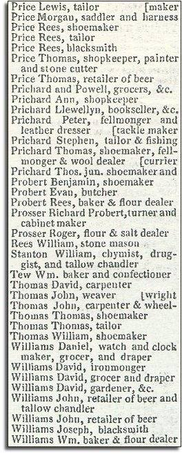 Extract from Pigot's Directory of 1835