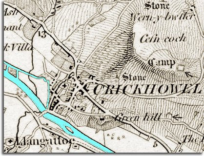 map of Crickhowell in 1872