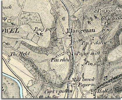 map of Llangenny in 1872