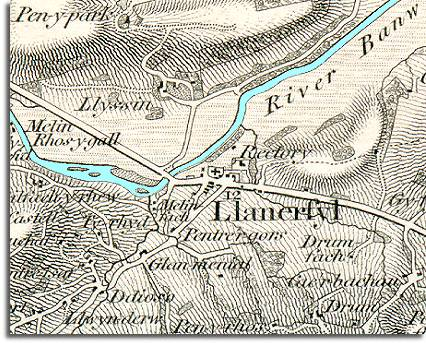 map of Llanerfyl in 1836