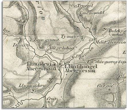 map of Abergwesyn in 1833