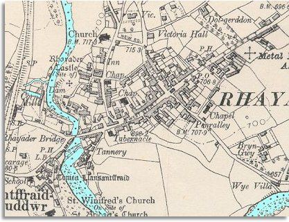 map of Rhayader in 1904
